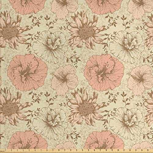 Lunarable Floral Fabric by The Yard, Retro Pattern on Nostalgic Background Soft Color Vintage Nature Design Print, Decorative Fabric for Upholstery and Home Accents, 1 Yard, Cream Pink Brown