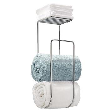 MDesign Towel Holder With Shelf For Bathroom   Wall Mount, Chrome