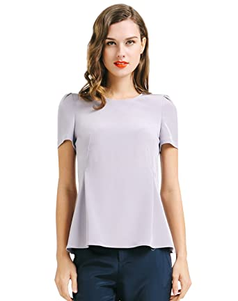 c3ceee3e4a96a8 Image Unavailable. Image not available for. Color  VOA Women s Silk Light  Grey Scoop Neck Short Sleeve Tshirt Top B6698