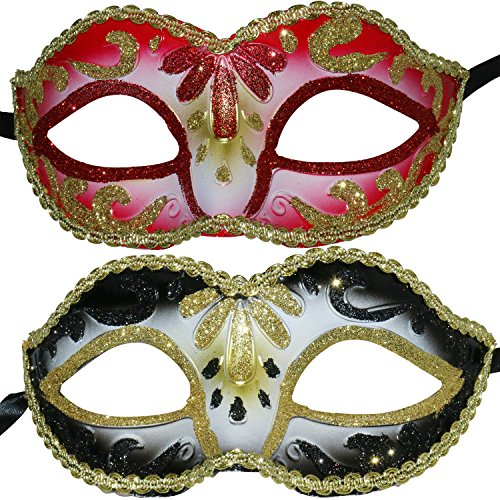 2 Pieces Masquerade Party Performances Children Plastic Mask(Red&Black) (Masquerade Ball Costumes For Kids)
