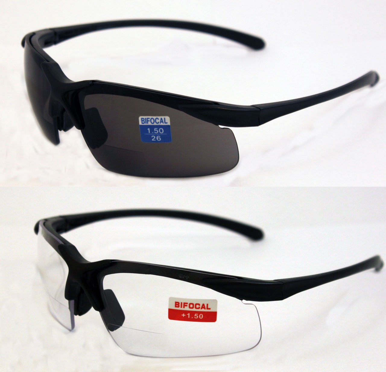 Global Vision Set of 2 Apex 1.5 Bifocal Safety Glasses - Clear and Smoke Lens
