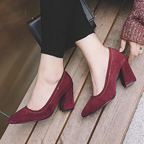 MissSaSa Damen chunky high heel Step Pumps Weinrot(6cm)