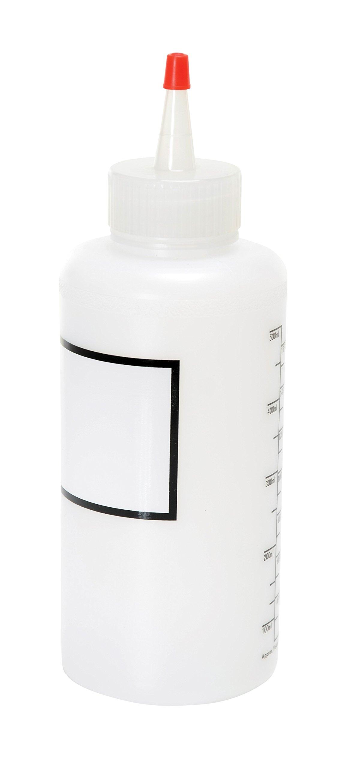 Vestil BTL-RC-16-LBL Low Density Polyethylene (LDPE) Round Graduated Dispensing Bottle with Label and Red Cap, 16 oz Capacity, Translucent