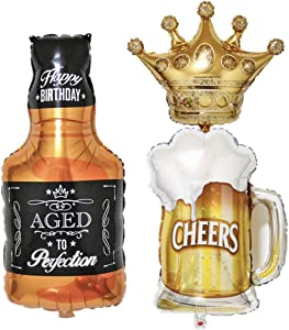 CheeseandU 3Packs Party Large Foil Balloons - Beer Mug & Whiskey Bottle & Golden Crown for Bar Valentines Wedding Decors Aluminium Balloon Birthday Party Decoration Supplies
