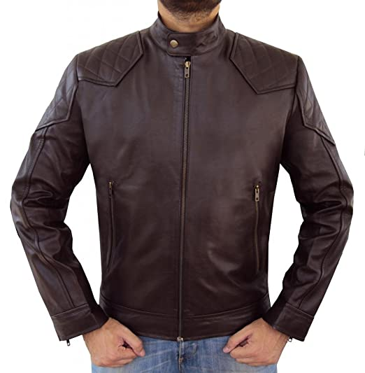7eda40d94 The Leather Factory Men's Lambskin Bomber Leather Jacket With ...