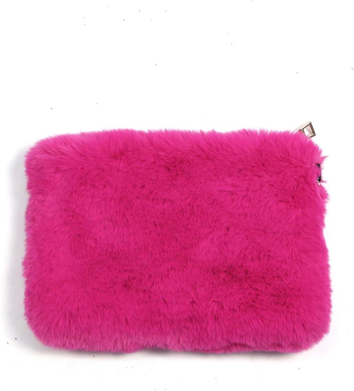 best service Fuzzy Fur Solid Metal Chain Strap Zipper Mini ...
