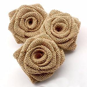 Summer-Ray 12pcs Handmade Burlap Roses Burlap Flower for Rustic Wedding Decorations 8