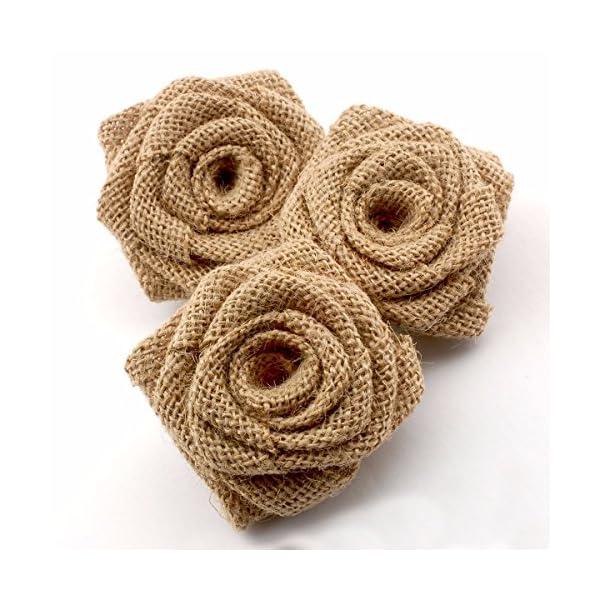 Summer-Ray 12pcs Handmade Burlap Roses Burlap Flower for Rustic Wedding Decorations