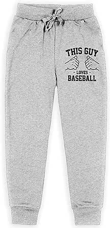Yuanmeiju This Guy Loves Baseball Boys Pantalones Deportivos,Pantalones Deportivos for Teens Boys Girls