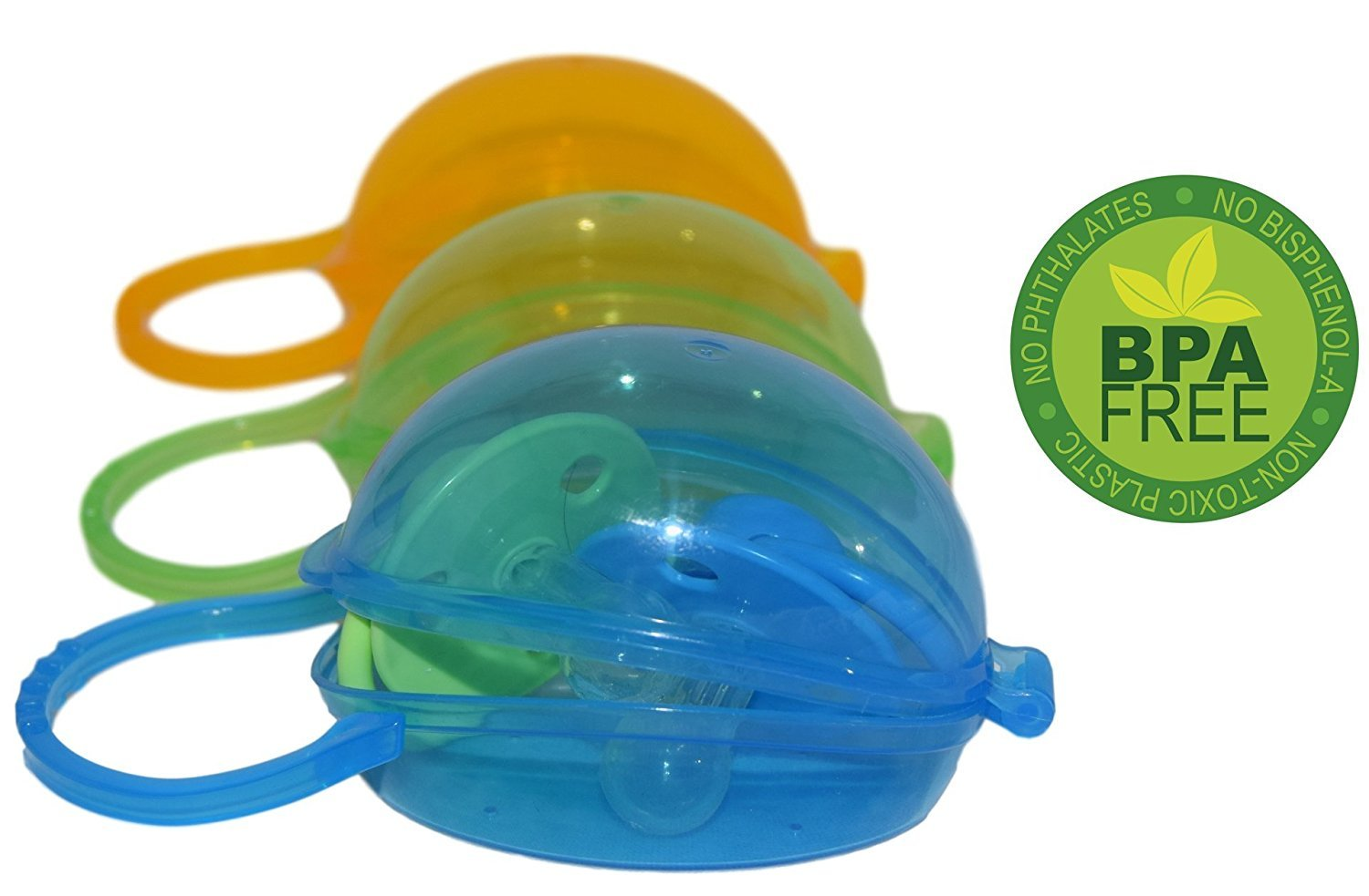 Flash Sale | Akeekah Dummy Case & Nipple Shield Case 3 Pack | BPA Free Soother Pacifier Holder with Free Mesh Sack | Blue, Green & Orange