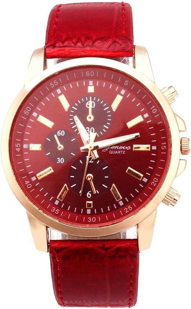 Watch Daoroka Mens Belt Watch Geneva Leather Analog Dial Quartz Sport Wrist Watch Jewelry Gift