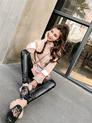 Color Split Pu Leather (New fall hit color loose horn sleeve knit shirt + PU split leather casual significantly thin leg pants suit for women girl)