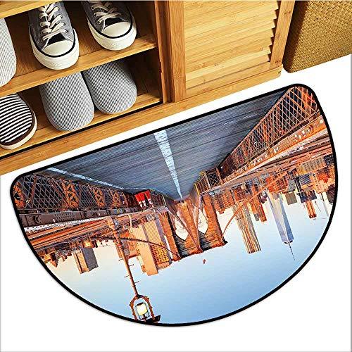 - Custom&blanket Entrance Door Mat, City Indoor Doormats for Bedroom, New York Skyline Closeup Brooklyn Bridge in Manhattan Over Hudson River (Orange Pale Blue Grey, H24 x D36 Semicircle)