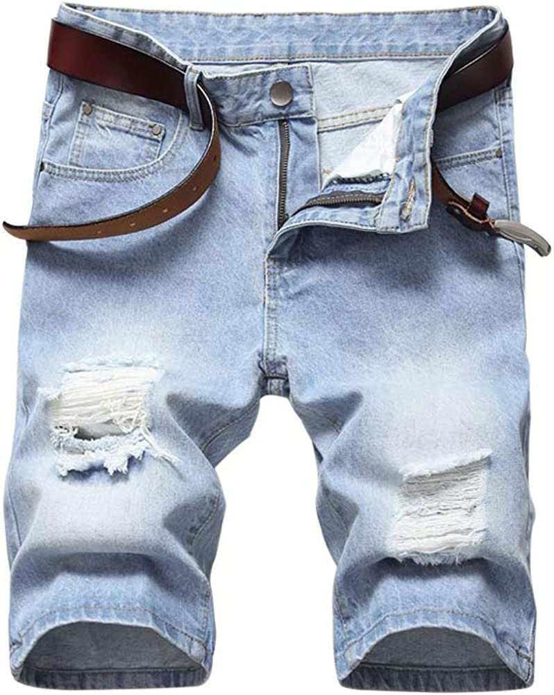 PASOK Men's Casual Denim Shorts Ripped Short Pants Straight Fit Jeans Shorts with Hole