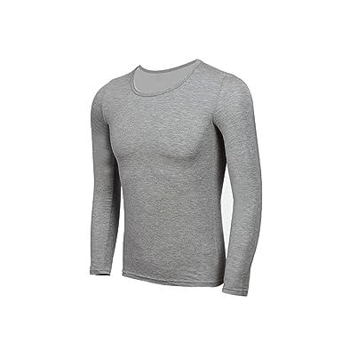 YiLianDa Modale Uomo Colletto Rotondo Top Manica Lunga T Shirt Top Slim  Camicetta Solido Scollo Intima 2b954df5ac04