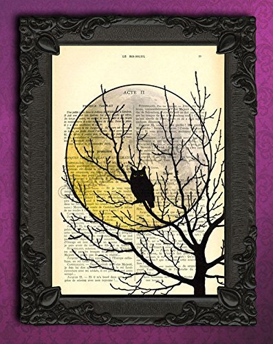 Halloween black owl tree silhouette wall decor, spooky full moon poster