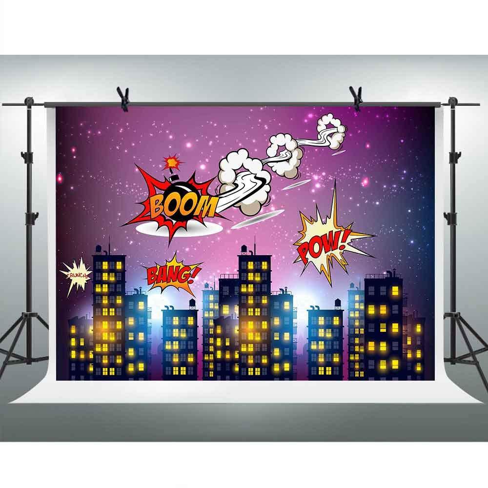 FHZON 10x7フィート スーパーマン スーパーヒーロー 写真背景 都市 夜景 紫 空 ブーム パウ バング 背景 テーマ パーティー 壁紙 装飾 写真ブース 小道具 LXFH766   B07KFSGQKH