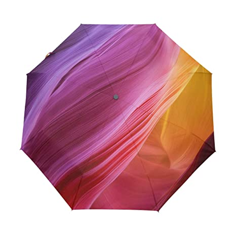 15a05a86dc0f Amazon.com: Yokii Abstract Rainbow Texture 3 Folds Auto Open Close ...