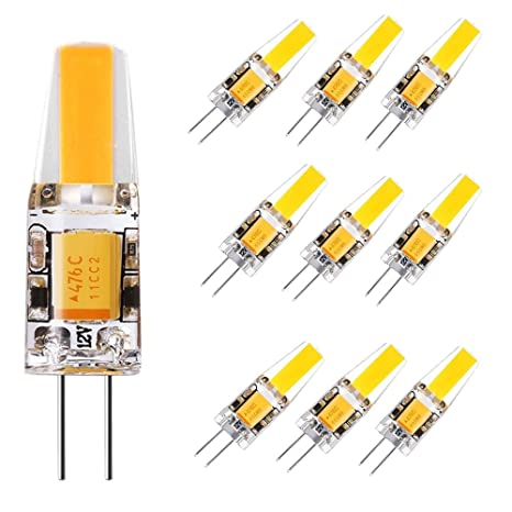 Pack de 10 bombillas LED DC AC 12 V G4 COB 2 W regulable 190 LM