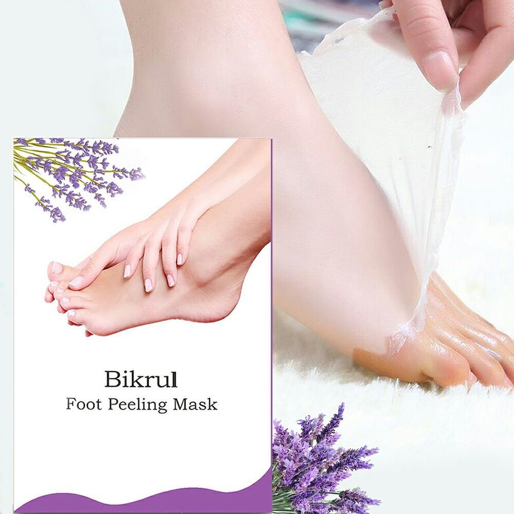Foot Peeling Mask, Bikrul Foot Exfoliating Calluses and Dead Skin Smoothly Remover 2 Pairs(Lavender)