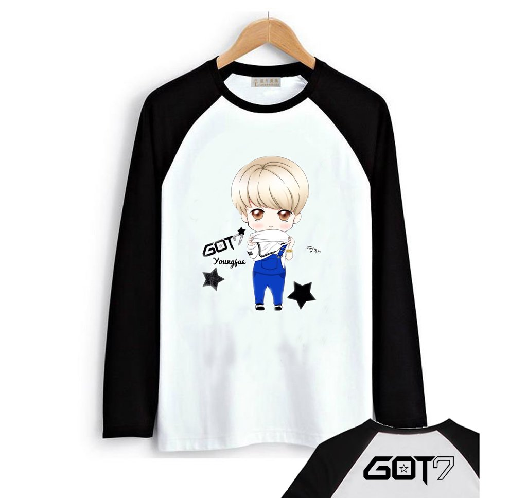 Fanstown-GOT7 Black Shoulder Member Cartoon Signature Long Sleeve Shirt Bambam Jackson Mark by Fanstown-GOT7