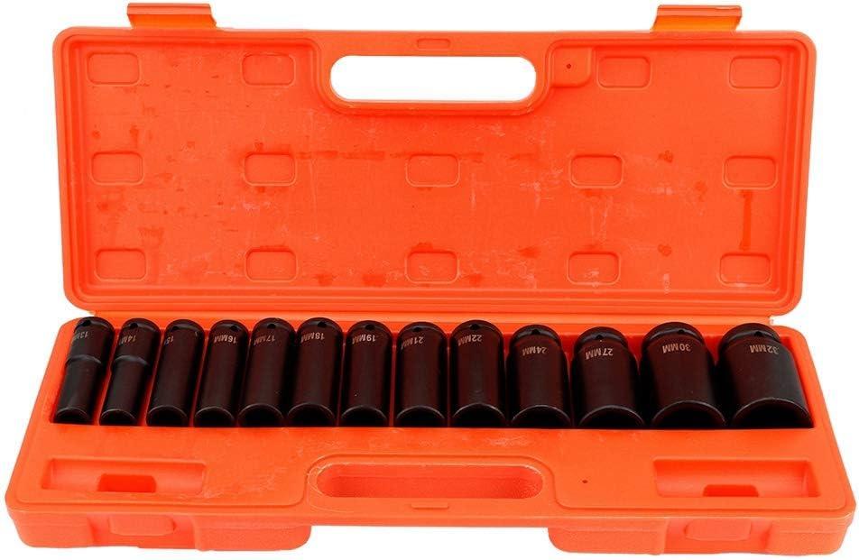 Set di 13 Pezzi Chiavi a Bussola a Impatto 1//2 Pollice Esagono con Valigetta Rossa Chiavi a Bussola Profondo da 13 mm a 32 mm in Acciaio al Carbonio Resistente