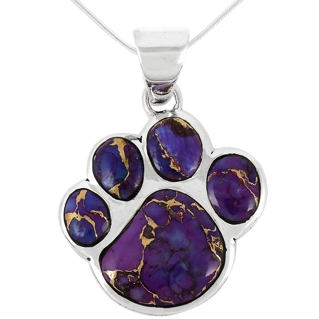 Dog Paw Pendant Necklace 925 Sterling Silver Genuine Turquoise & Gemstones (20'', Purple Turquoise)