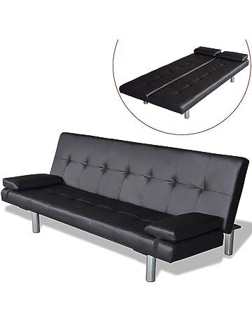 vidaXL sofá Cama Ajustable con 2 Almohadas, Color Blanco