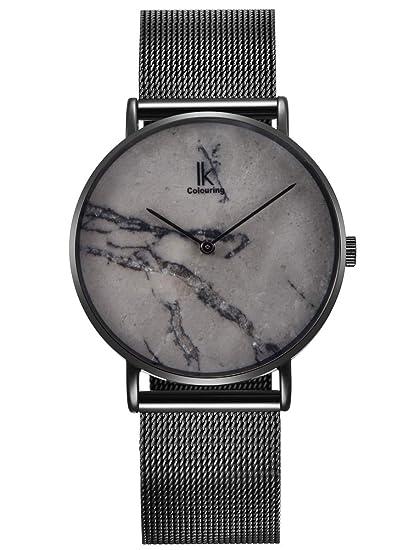 Alienwork IK Armbanduhr für Herren Damen Slim Uhr Ø40mm mit Mesh Metallarmband