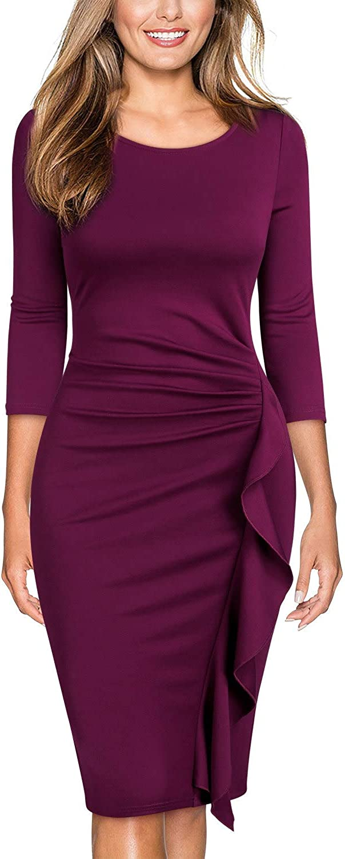 TALLA EU 36/38(Small). Miusol Casual Slim Fit Coctel Vestido de Lápiz para Mujer Magenta EU 36/38(Small)