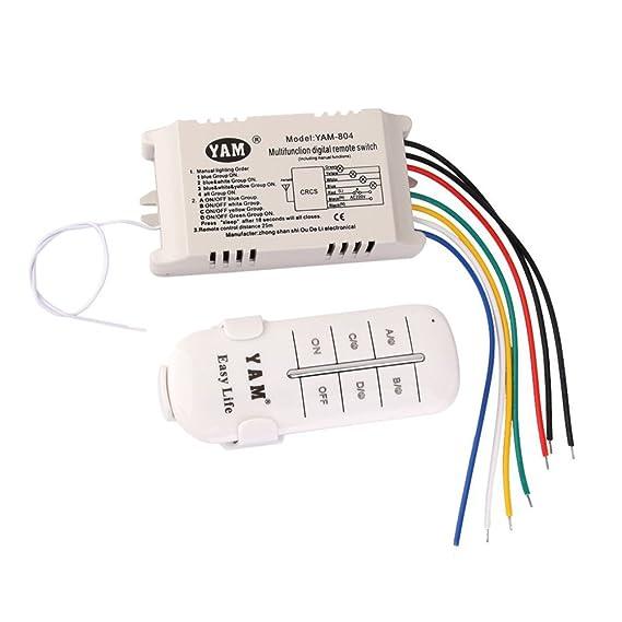 UEETEK CA 200-240V 4-way OFFON interruptor con Control remoto (blanco): Amazon.es: Electrónica