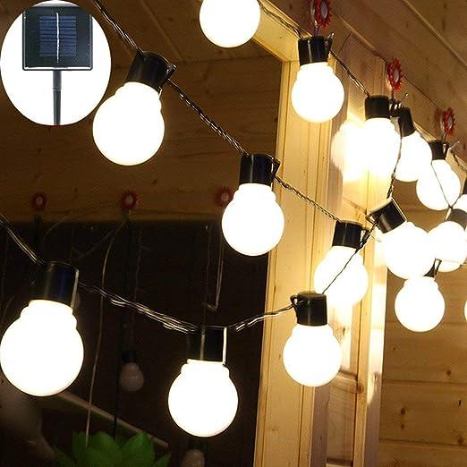 Luces de Cadena de Jardín Solar, 4M 10 LED Bombilla de luz de Fondo Luces a Prueba de Agua con 2 Modos de Iluminación para Exteriores, Jardín, Decoraciones Navideñas (Blanco Cálido): Amazon.es: