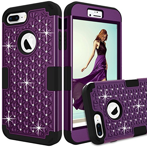 iPhone 7 Plus Case, GPROVA Hybrid Heavy Duty Shockproof Diamond Studded Bling Rhinestone Case With Fit Perfect Shock Absorbing Scratch Proof for iPhone 7 Plus (Purple/Black) (Purple 4s Speck Case Iphone)