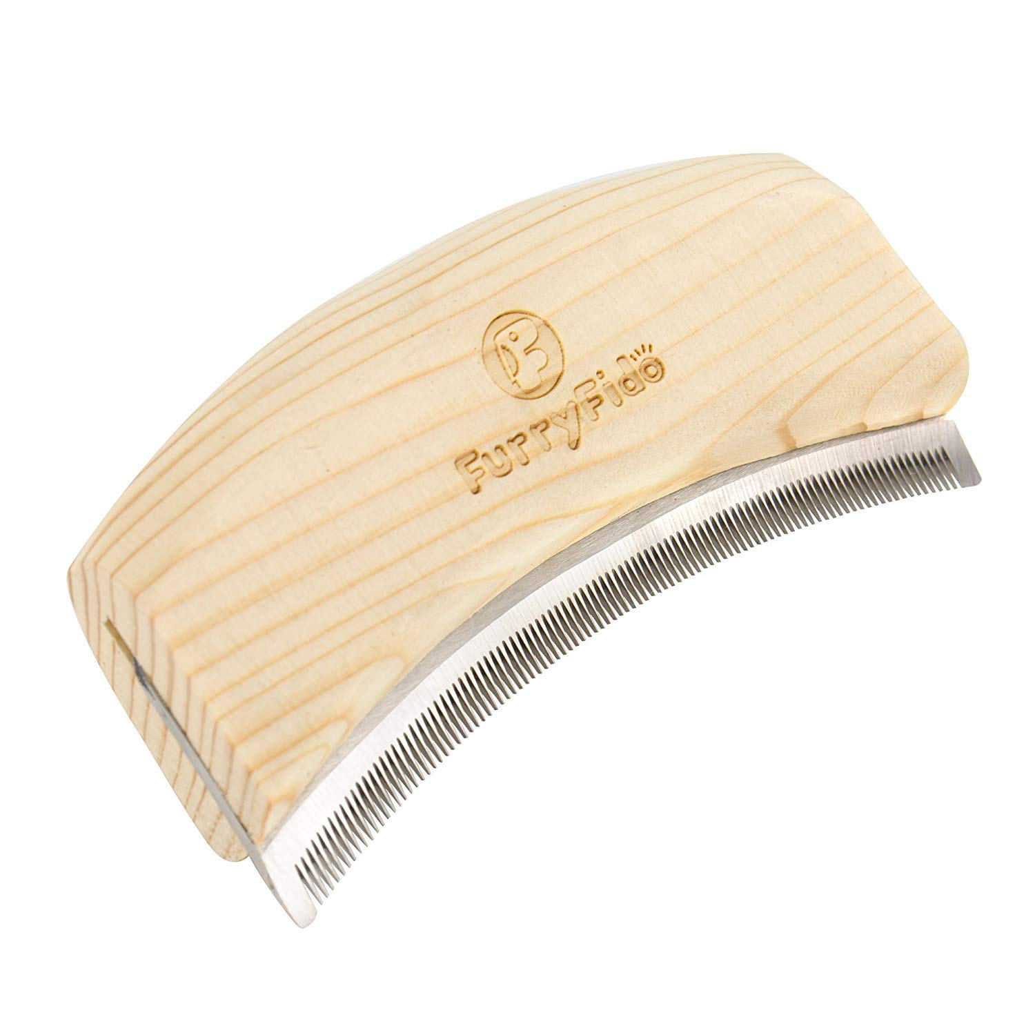 FURRY FIDO DeShedding Tool/Brush/Comb by Furryfido Effective Wooden Grooming/Trimming Tool/Rake for Shedding Dogs/Cats/Horse Especially for Long Hair/Fur Removal