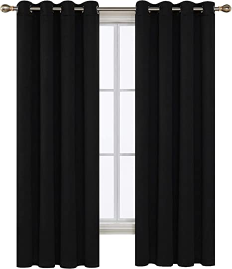Deconovo Window Blackout Grommet Thermal Insulated Darkening Curtain Panel For Living Room 52x63 Inch Black Amazon Ca Home Kitchen