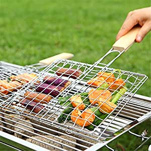Aerfas Plated Steel Hamburg Grilled Fish Clip Barbecue Net BBQ Tool For Outdoor Camping Picnic 1 Pcs (BBQ)