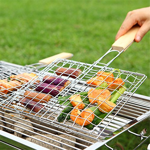 Balloon 1 Net (Aerfas Plated Steel Hamburg Grilled Fish Clip Barbecue Net BBQ Tool For Outdoor Camping Picnic 1 Pcs)