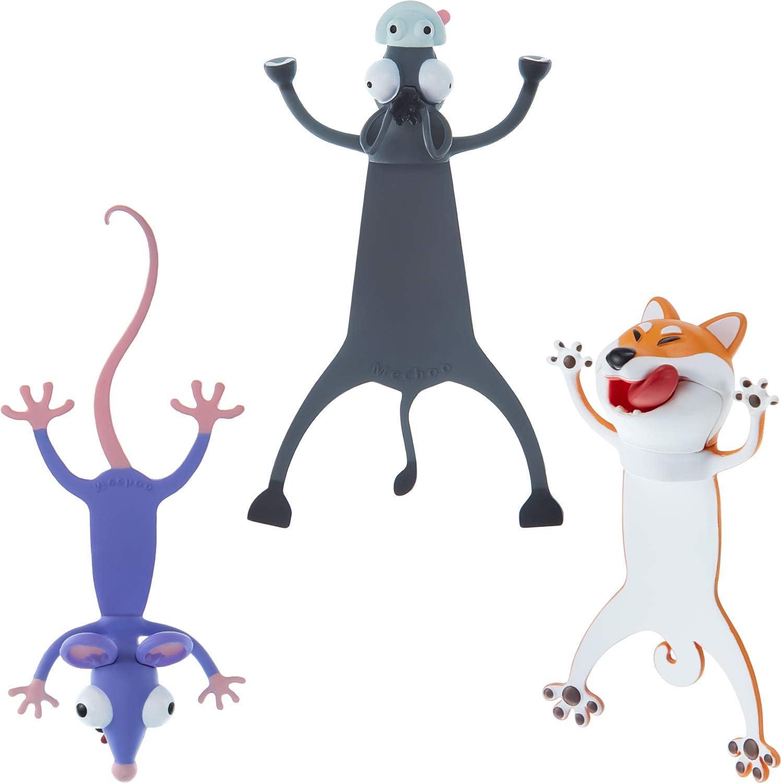 3 Marcadores de Animales de Dibujos Animados 3D Marcador de Lectura de Animales Divertidos Lindos Marcapáginas de Animales Aplastados de Papelería para Estudiantes Adolescentes, Niños y Niñas