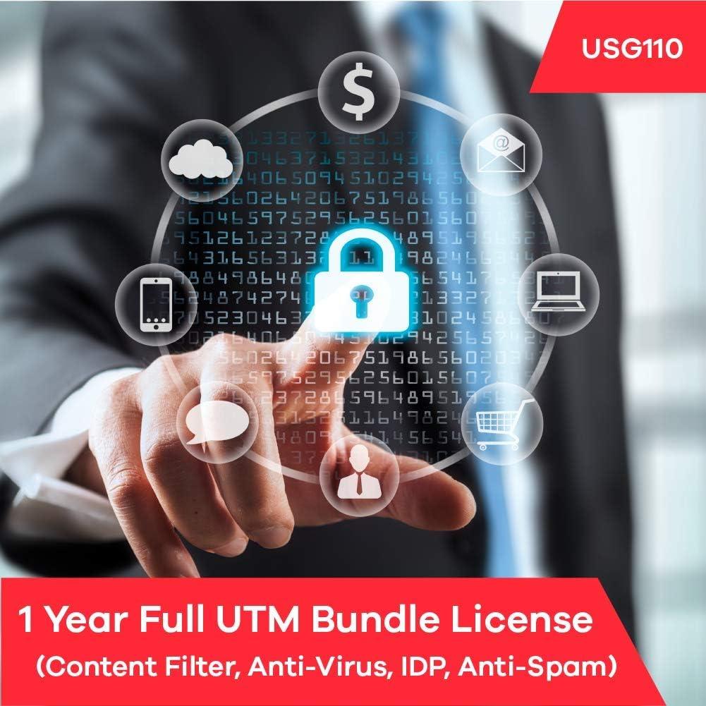 B07FTPK5J6 Zyxel Complete UTM Security Bundle Subscription License (1 Year) for USG110 61RRaUQDdEL.SL1001_