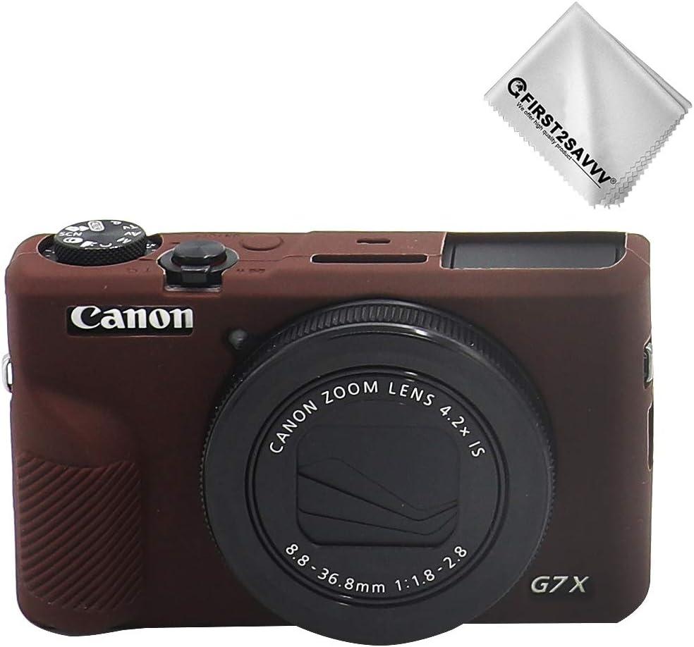 Marron Oscuro Cuerpo Completo Caucho de TPU Funda Estuche Silicona para cámara para Canon PowerShot G7X Mark III: Amazon.es: Electrónica