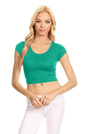 7459c8642ea Basic Short Sleeve Crop Top for Women, Scoop Neck Crop Top Shirts - USA  Emerald