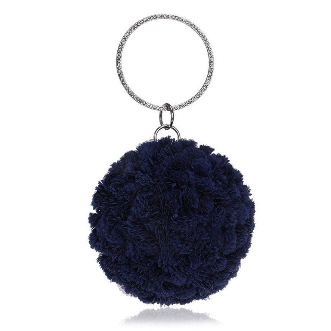 Color : Black QARYYQ European and American Foreign Trade Mobile Handbags Handmade Flowers Evening Bag Evening Package