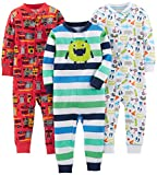 Simple Joys by Carter's Baby Boys' Toddler 3-Pack Snug Fit Footless Cotton Pajamas, Monster/Construction/White, 4T