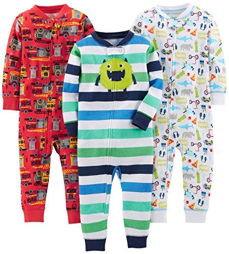 Simple Joys by Carter's Baby Boys' Toddler 3-Pack Snug Fit Footless Cotton Pajamas, Monster/Construction/White, 3T