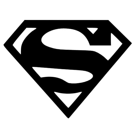 Superman Logo Black Vinyl Cut External Window Or Bumper Sticker