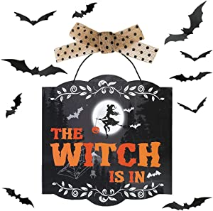 Auihiay Halloween Door Hanging Welcome Sign The Witch is in Felt Front Porch Hanging Plaque with 3D Bats Stickers for Haunted House Home Party Decor