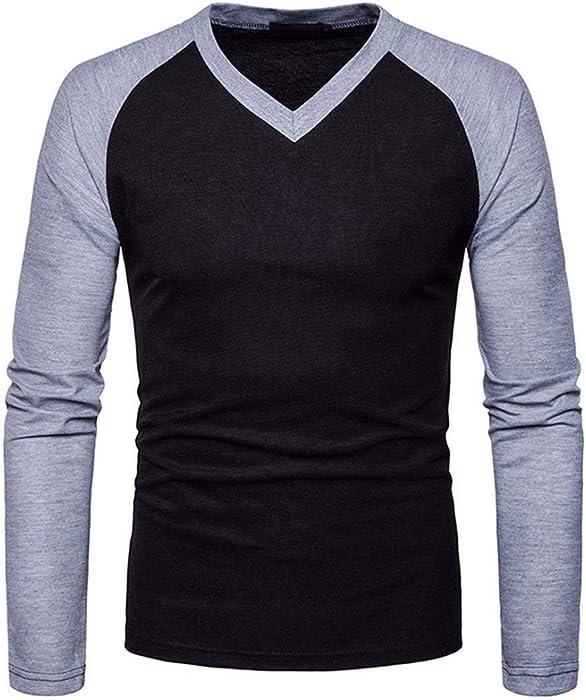 Resplend Camisa de Manga Larga Casual para Hombre Camisa de Corte Slim con Cuello en V Blusa de Patchwork Top