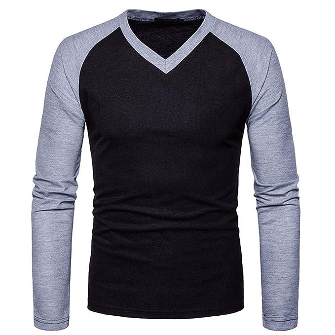 Resplend Camisa de Manga Larga Casual para Hombre Camisa de Corte Slim con Cuello en V