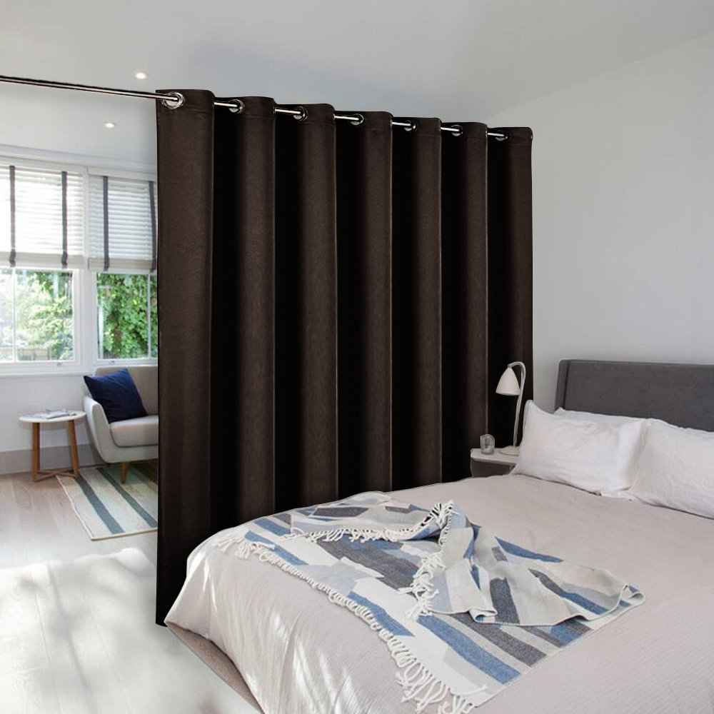 Room Dividers Curtain Screen Partitions - NICETOWN Blackout Wide Width Blackout Curtain Panel for Glass Window