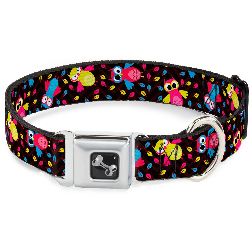 Buckle-Down Seatbelt Buckle Dog Collar Flying Owls w Leaves Black Multi color 1  Wide Fits 9-15  Neck Small